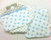 SET Baby bib/set of 2 burp cloths; Layette set; Baby gift set; Blue elephant and polka dot baby set