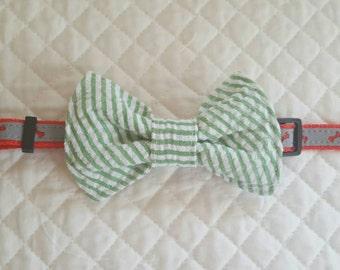 Seersucker Dog Bow Tie, Green and White Seersucker, Bow Tie For Dogs, Dog Neckwear, Pet Accessories, Pet Supplies clothing, Dog Accessories