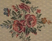 Vintage Tapestry Panel - Heavy Woven Fabric - Tan With Floral Spray