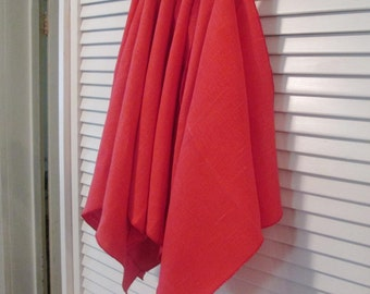 """Six Bright Red Linen Vintage Napkins - 15"""" Square - Valentines Day"""