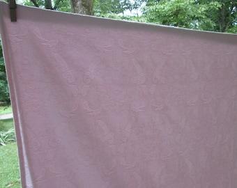 Vintage Pink Damask Tablecloth - Cotton Blend - Floral/ Leaf Design