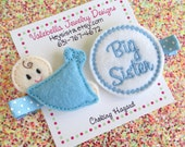 Hairclips I'm going to be a BIG SISTER hairclip set of two 2 sibling birth announcement photo prop You Choose Pink or Blue new baby kids