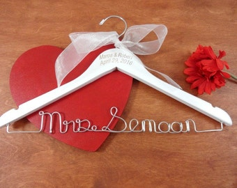 Original Name Hanger - Engraved Wire Name Hanger - Custom Name Hangers - Bride Coat Hangers - Personalized Hangers - Engraved Names and Date