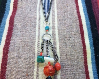 Wyo Cowgirl Turquoise, Tradebead, Mother of Pearl Necklace.