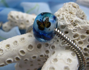 BHB Monarch Butterfly in an Abstract Blue Sky big hole bracelet bead