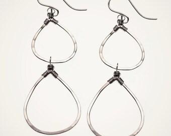 teardrop earrings, handmade hammered sterling silver tear drop earrings, handmade