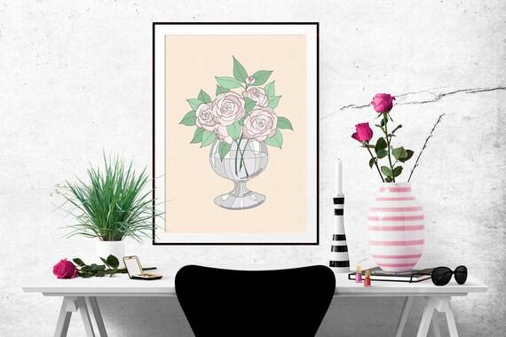 Blush Roses Decorative Illustration Art Poster