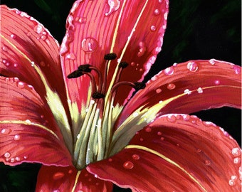 """LILY - after the rain - Large 12 x 12"""" Original realistic floral oil painting"""