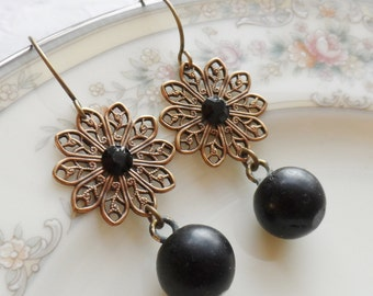 Spanish Lullaby, Antique Glass Button Earrings