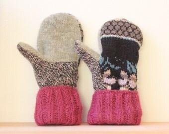 Sweater Mittens, Wool Mittens, Mittens, Lined Mittens, Fleece Lined, Mittens, Floral, Black, Fleece-Lined, Warm, Cozy, Winter Mittens