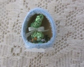 Vintage Miniature Diorama Glittered Baby Blue Easter Egg w/Foil Bunny & Eggs Spring/Easter Crafting/Decorating
