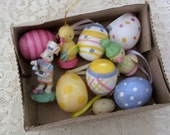 Vintage Egg Decorations w/Wooden Chicks and Resin Bunny Spring/Easter Crafting/Decorating Set