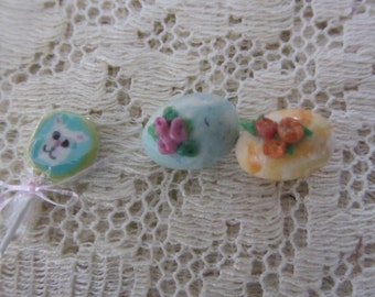 Vintage Miniature Yellow Chicks, Pastel Easter Eggs and Bunny Lollipop Spring/Easter Crafting/Decorating
