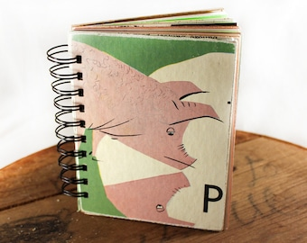 Pig Out! - Wire-Bound Recycled Art Journal