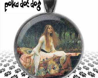 Lady of Shalott -- Waterhouse Pre-Raphaelite Large Glass-Covered Pendant
