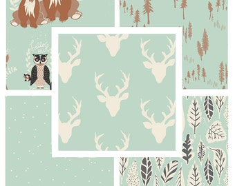 BUNDLE - Hello Bear - Art Gallery Fabrics - Bonnie Christine - Quilting Cotton by the Yard - Mint - Deer Heads Antlers Woodland Nursery