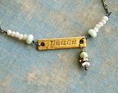 Peace bracelet,word inspirational yoga crystal beaded charm. Tiedupmemories