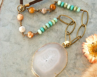 Long natural white agate gemstone necklace /gemstone pendant / beaded gemstone necklace. Tiedupmemories