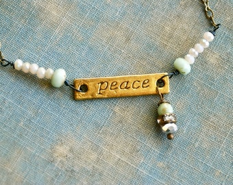 Peace bracelet,word inspirational yoga crystal beaded charm. Tiedupmemories
