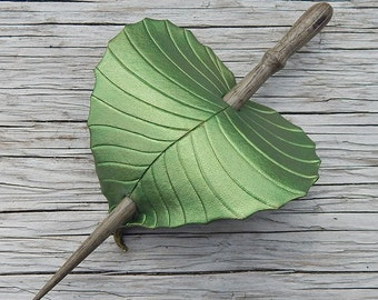 Leather Hair Accessory - Olivine Green Birch Leaf Barrette Hair Stick, Hair Slide Or Shawl Pin - Small to Medium