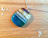 Sterling Silver Fused Glass Necklace Sandy Turquoise Beach