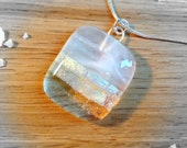 Sterling Silver Fused Glass Necklace Cream, Silver and Gold