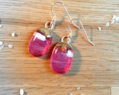 Sterling Silver Fused Glass Earrings in Pink and Cream