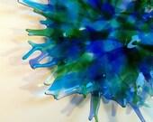 Fused Glass Bowl / Dish / Serving Dish / Plate Art Glass Blue Kaleidoscope
