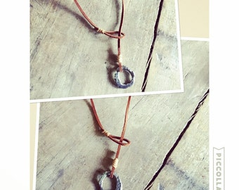 Leather lariat necklace personalized circle pendant recycled fine silver unisex inscription simple rustic jewelry UNBROKEN Pendant