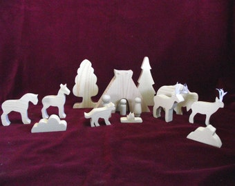 Native American Plains Indian Family, Unfinished Pine Cutouts