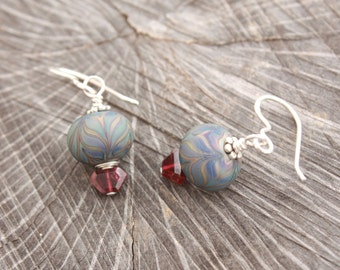 Lovely Etched Lampwork Earrings with Unique Garnet