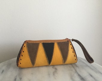 Cool Vintage Geometric Leather Wallet / Coin Purse.
