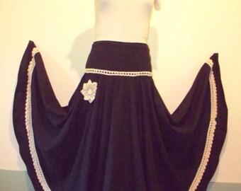 Dark Navy Blue Maxi Skirt with Crocheted Trim