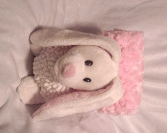 Plush Bunny - Dog Toy - Squeaker Toy & Blanket - Baby Toy - Cuddle Critter Bunny - Baby gift - Puppy Gift - Embroidery