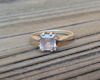 Vintage Style Square White Quartz Sterling Silver Ring. Magnolia Jewel Designs