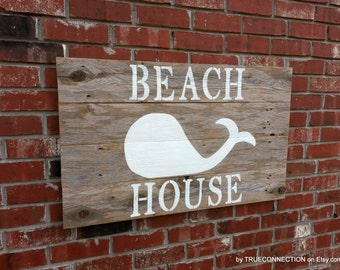 Beach House Sign Large Whale Lake House Rustic Headboard Reclaimed Wood 38 x 23 Wooden Sign Farmhouse Mantle Sign Welcome To the Beach