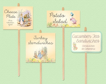 Peter Rabbit Baby Shower Food Labels - Birthday Party Menu Cards - 3 different sizes - Illustrations or Characters - Printed or Download