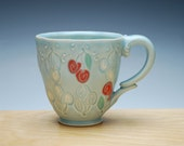 Cherries coffee mug in turquoise Frost w. colorized detail, Victorian modern cup