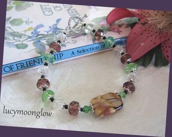 Swarovski and Picasso Jasper Gemstone Bracelet
