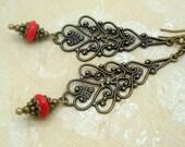 Long Drop Earrings, Red Boho Chic Jewelry, Handmade, Bohemian, Rustic, Brass Filigree, Czech Glass, Neo Victorian Jewelry, Gypsy, Long Light