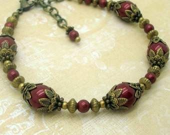 Adjustable Neo Victorian Bracelet with Bordeaux Red Swarovski Pearls and Antiqued Brass Bead Caps