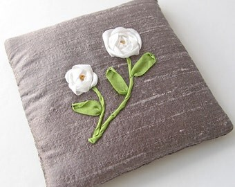 White roses lavender sachet, embroidered silk ribbon roses, June birthday gift, drawer freshener, scented sachet,  purple silk sachet
