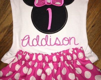 Minnie birthday Skirt and top