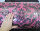SALE - Damask Fleece Fabric per 1 yard - Magenta and Black Print - use for ponchos, scarves, mittens or blankets
