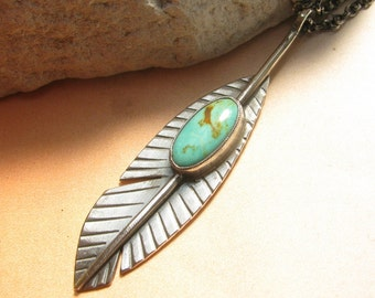 Turquoise Necklace, Sterling Silver Feather Necklace, Argentium Jewelry, Feather Pendant Necklace Southwest Jewelry, Turquoise Jewelry