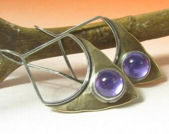 Pixie Amethyst Earrings Mixed Metal Earrings Shield Earring Sterling Silver Earrings, Bronze Earrings, February Birthstone Gemstone Earrings