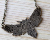 Etched Moth Necklace in Brass