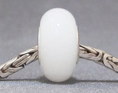 Glow in the Dark Glows Aqua Handmade Lampwork Glass Bead Euro Bracelet Charm Antique White