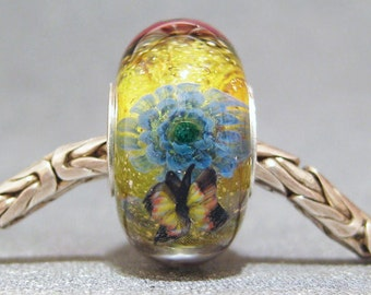 Green & Pink Handmade SRA Lampwork Glass Butterfly Big Hole Bead Wildflower Garden II
