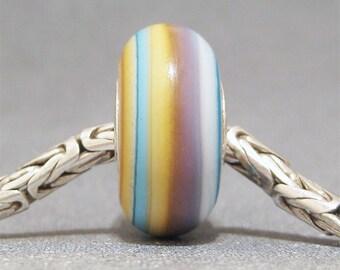 Pink & Yellow Handmade Stripe Lampwork Glass Bead Euro Bracelet Charm Treat II